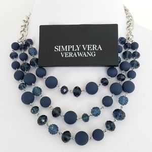 NWT! Vera Wang Statement Necklace Blue Silver